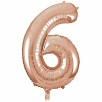 40cm Rose Gold Number Air-Filled Foil Balloon - Number 6