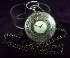 Styled Pocket Watch w/ Chain 48mm Est Swiss 17J Demi-Hunter Case