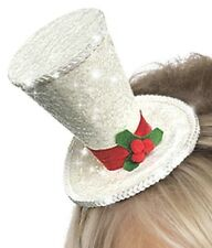 White Christmas Headband Adult Unisex Smiffys Fancy Dress Costume Top Hat