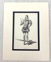 1889 Antico Stampa Malvolio Dodicesimo Notte Costume William Shakespeare