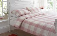 Red & Cream Check TIREE Flannelette / Tartan Brushed Cotton Duvet Cover Set