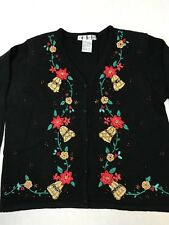 OHI Women's Ugly Christmas Sweater Size Large Black with gold/red/green details