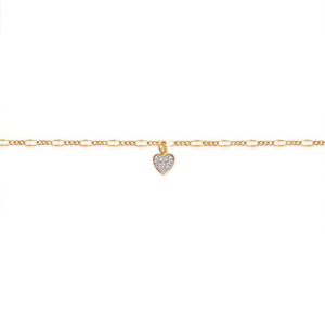 Chevillière Anklet Gold Plated + Heart Zirconium New