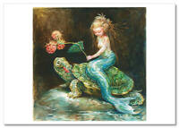 NEW! Little Girl Mermaid Turtle STRAWBERRY Fantasy ART russian postcard modern