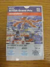 12/07/1997 Ticket: Formula 1 - British Grand Prix Meeting - Day 2 (with Centre T
