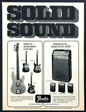 1969 Fender Jaguar Telecaster Bass Guitar & Reverb Amps photo vintage print ad