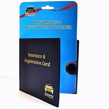 """Blue AUTO CAR TRUCK INSURANCE REGISTRATION CARD WALLET HOLDER 5.25""""x4.6"""" Vinyl"""