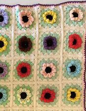 """Handmade Crochet Afghan Boho Multi Color 3D Rose Flower Quilt Lap Throw  30""""x36"""""""
