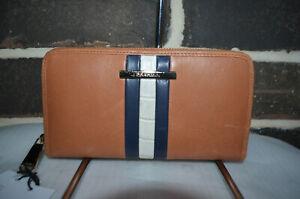 RARE $175 NWT Brahmin Suri Leather Wallet Clutch tan navy white stripe