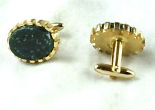 1940's-50's Hickok Gold & Dark Green Flaked Stone Cuff Links