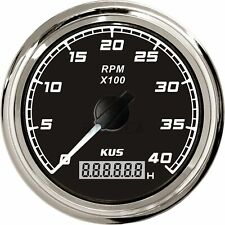 KUS Engine Tachometer Car Truck Boat RPM Gauge Digital Hourmeter 0-4000 RPM