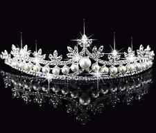 Tiara Haarschmuck Diadem Krone Perlen Strass Haarreifen Braut Hochzeit Reifen