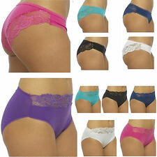 Ladies cotton Brazilian / High Leg Lace Briefs sizes 12-to18 Sexy Knickers (145)