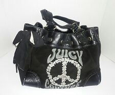 Juicy Couture Handbag Black Pocketbook Peace Sign Large Purse Free Shipping