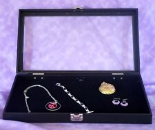 Jewelry Tray With Hinged Glass Lid With Black Velvet