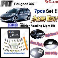 7 Blubs Xenon White LED SMD Full Interior Light Kit For Peugeot 307