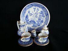 Blue Willow Miniature Porcelain Tea Set w/ Gold Trim Dollhouse Miniatures VTG