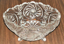 Vintage Made in Poland 24% Lead Crystal Glass Hand-Cut Etched Star Footed Bowl.