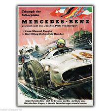 MERCEDES-BENZ RACING vintage con pubblicità in metallo Insegna Placca Parete Stampa Poster