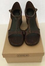 COACH  Authentic Women's Leather Wedge Sandals Shoes Size 6 B W/Box