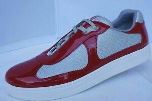 Prada Men's Leather & Mesh Sneakers, 4E3166 patent RED