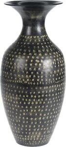 32cm Tall Wide Body Flower Vase Black Metal Vase Speckled Design