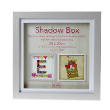 20cm Square Grey Wooden Deep Shadow Box 3D Photo Picture Frame Scrabble Display
