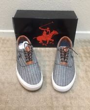 9253a36b1c5 Beverly Hill Polo Club BP 91471 Men Lace Up Gray Pinstripe Canvas Sneakers  9.5
