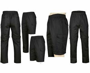 Mens Black Zip-off Leg Multi-Pocket Waterproof Combat Cargo Trousers- Size M-XL