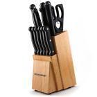 Kitchen Knife Set 14 Piece Block Stainless Steel Chef Cutlery Steak Knives New
