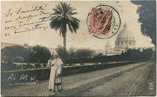 1908 Roma Immagine Pio X Ritratto Passeggio San Pietro France FP B/N VG ANIM