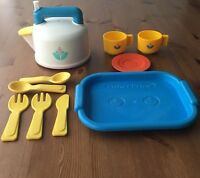 Fisher Price Tea Kettle Pot Whistling Sounds Tray Vintage Play Food Fun Kitchen