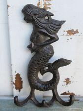 Brown Iron Mermaid with Starfish Triple Hook. Beach and Nautical Home Decor. NEW