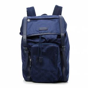 NWT GUCCI Nylon Guccissima Large XL GG Light Backpack Navy Shoulder Bag 510336