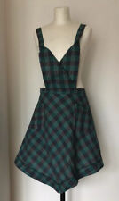 Lovely Vintage Cotton Apron From France Blue Green Check 1930s 1940s