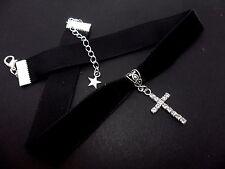 Una Donna Ragazze Black Velvet & Diamante Cristallo Croce Collana Girocollo 16mm. NUOVO