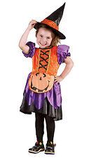 BONITO niña calabaza Disfraz de Bruja & Sombrero de bruja CARNAVAL HALLOWEEN 3-4