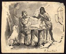 Antique Drawing-SETTLER VISITED BY NATIVE-DOG-Sundblad-ca. 1870