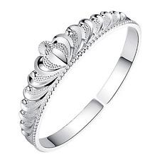 Women Classic 925 Silver Crown Bangle Bracelet Lady Fashion Jewelry Party Gift