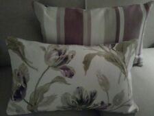 2 Laura Ashley Gosford Plum & Awning Stripe Grape Fabric Cushion Bolster Covers