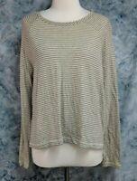 Rag & Bone Womens M Cream Blue Striped Linen Cotton Oversize Hi Lo Boxy Knit Top