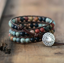 Natural Rock Turquoise, Onyx & Jasper Beaded Wrap Bracelet Leather Cuff Black