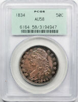 1834 50C Capped Bust Half Dollar PCGS AU 58 About Uncirculated OGH Cert#4947
