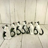 Fine Bone China Tuxedo Cat Napkin Holders 6 Philippines Black White Green Eyes