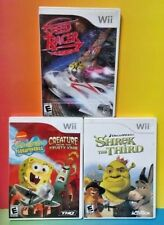 Speed Racer, Spongebob, Shrek Disney Nick Jr - Nintendo Wii / Wii U 3 Game Lot