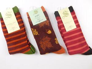 NWT Socksmith Women's 3 Pair Set Graphic Crew Socks Bamboo Autumn Colors New