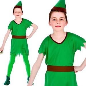Boys Girls Robin Hood Elf Peter Pan Pixie Book Week Day Fancy Dress Costume New