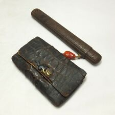 D007: High-class Japanese old Tobacco pouch and KISERU case with very good work