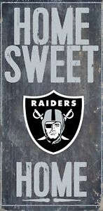 """Oakland Raiders Home Sweet Home Wood Sign - NEW 6"""" x 12"""" Wall Decoration Gift"""
