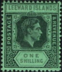 Leeward Islands 1942 KGVI   1/- Black & Grey/Emerald   SG.110bb Mint (Hinged)